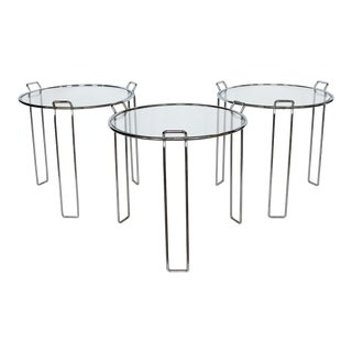 1970's Vintage Saporiti Chrome and Glass Nesting Tables - Set of 3 For Sale