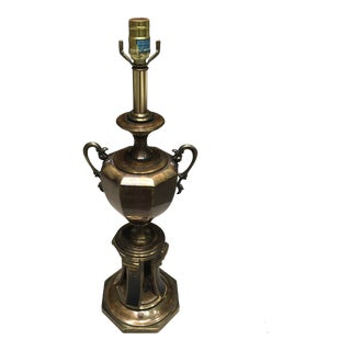Large Brass Black Enamel Bronze Finish Trophy-Urn Table Lamp by Westwood For Sale