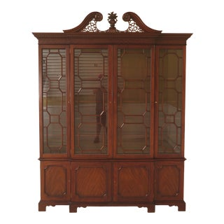 Kindel Chippendale 4 Door Mahogany China Cabinet For Sale