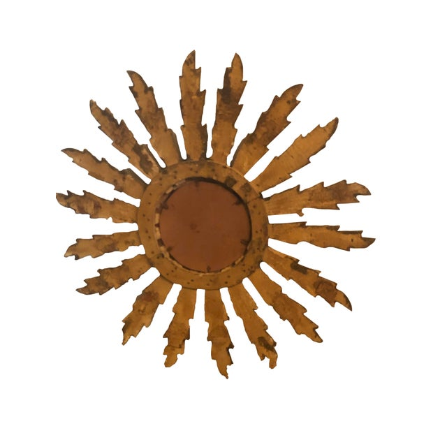 Mid Century French Giltwood Sunburst Mirror For Sale In Dallas - Image 6 of 7