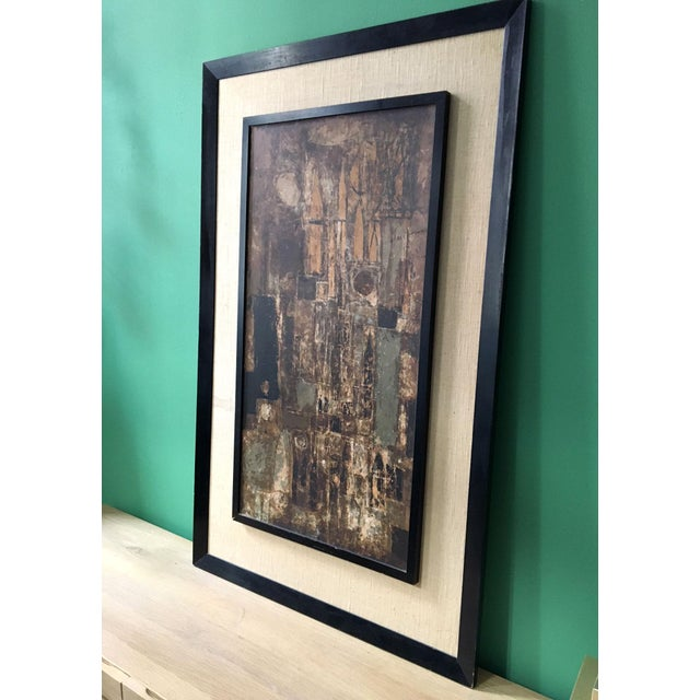 Vintage abstract expressionism cityscape serigraph print surrounded by a heavy wooden frame. Signed on the back. Serigraph...