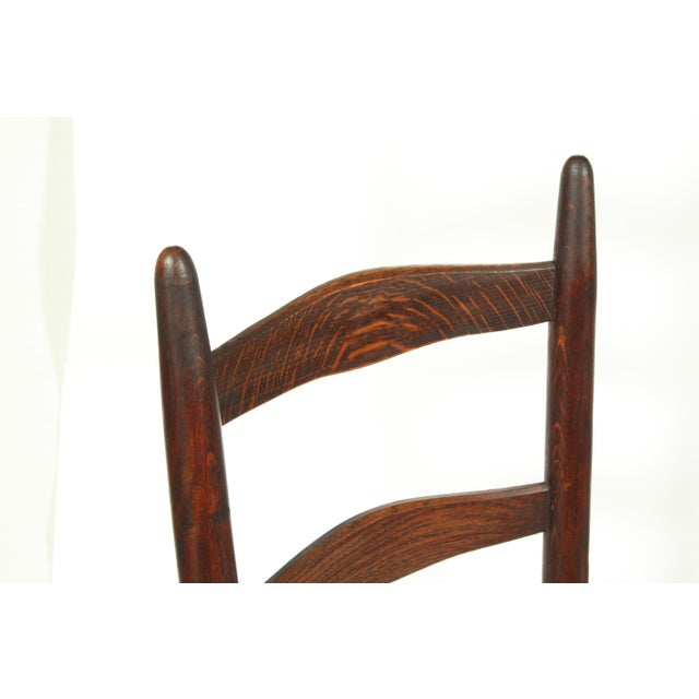 Six French Farmhouse-Style Oak Ladder Back Dining Chairs With Rush Seats For Sale In Nashville - Image 6 of 12