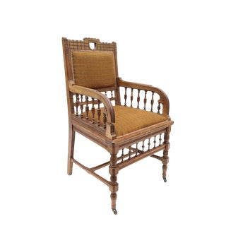 Victorian Eastlake Oak Upholstered Armchair
