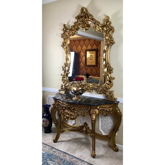 Louis XV Giltwood Mirror & Console For Sale In Philadelphia - Image 6 of 7