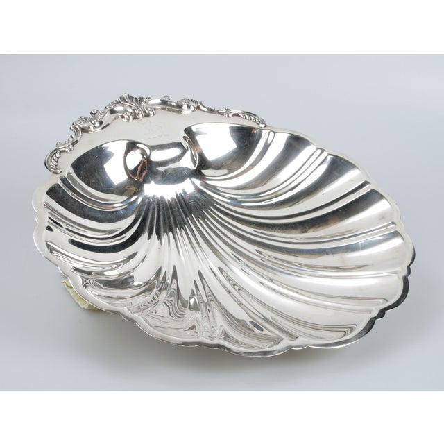 Hollywood Regency Signed Silver on Copper Clam Shell Bowl For Sale - Image 3 of 10