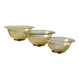 Vintage Depression Glass Bowls - Set of 3 For Sale
