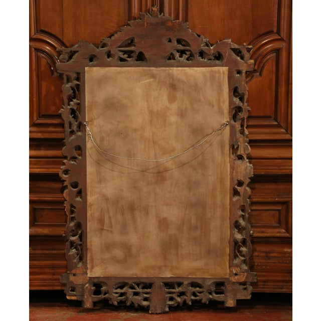 19th Century French Black Forest Carved Walnut Mirror With Grapes and Foliage For Sale In Dallas - Image 6 of 7