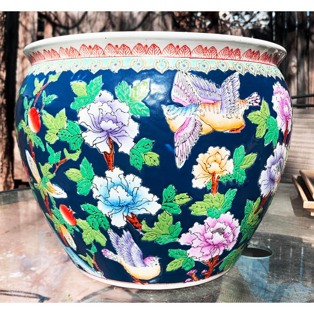 Chinoiserie Blue Porcelain Planter Pot With Koi Fish Interior Motif For Sale - Image 12 of 12