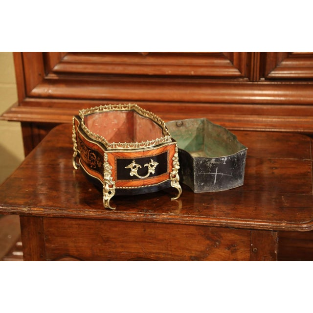 19th Century French Napoleon III Rosewood Planter With Marquetry & Bronze Decor For Sale In Dallas - Image 6 of 10