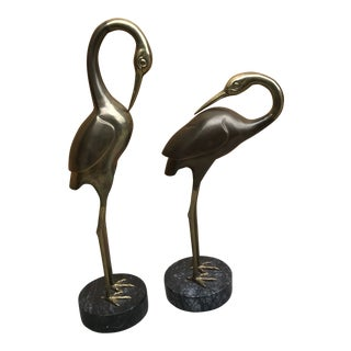 Mid Century Brass Swan Statues on Marble Bases - Pair For Sale