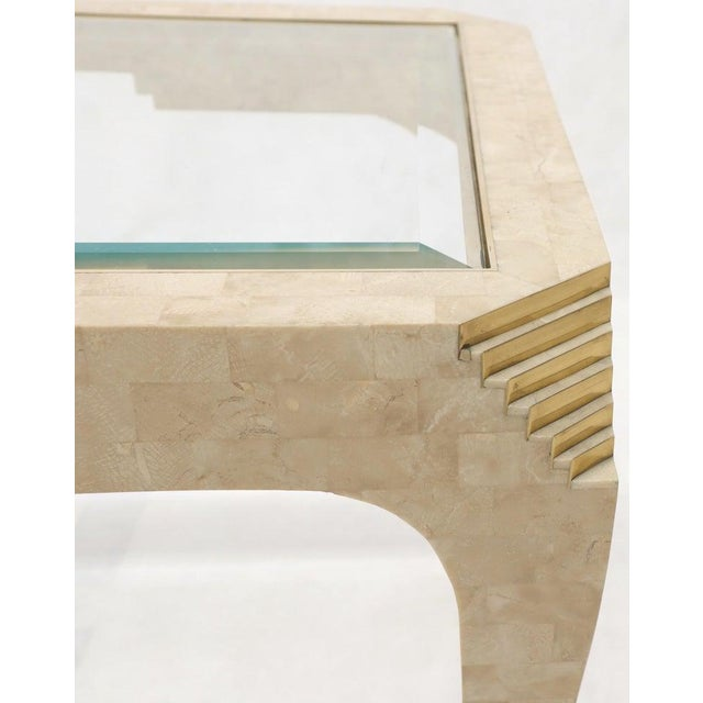 Stone Tessellated Stone Brass Inlay Rectangular Side End Table Glass Top For Sale - Image 7 of 12