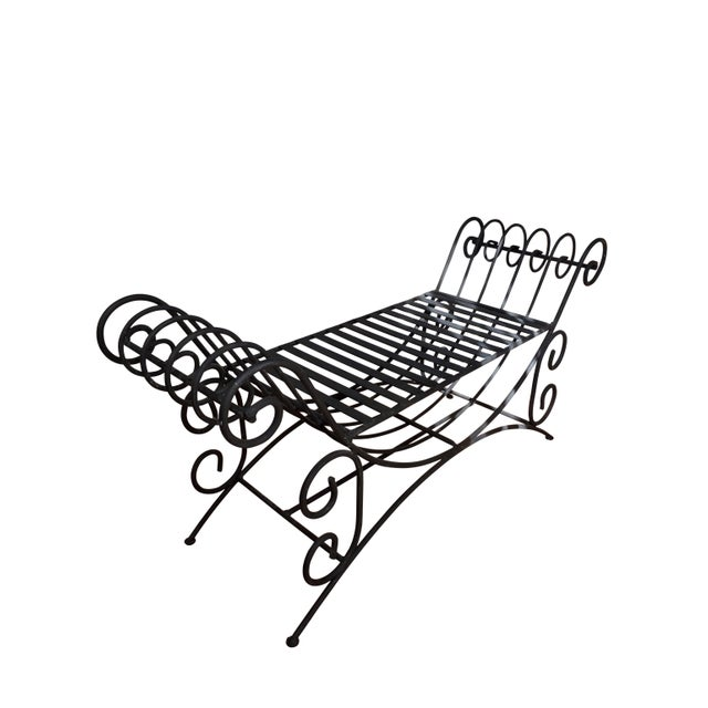 Vintage Mediterranean Style Spanish Style Wrought Iron Two Seat Black Bench Seat For Sale - Image 4 of 5