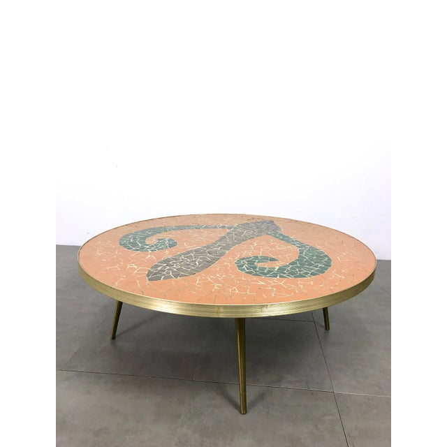 Italian Modern Round Mosaic Tile Coffee Table, Circa 1950's For Sale - Image 11 of 11