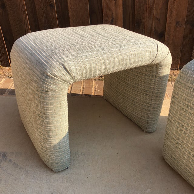 Contemporary Vintage Pale Green Waterfall Stools - a Pair For Sale - Image 3 of 7
