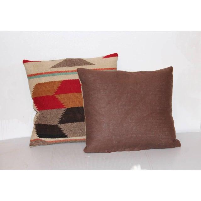 Navajo Pair of Tumbling Blocks Navajo Indian Weaving Pillows For Sale - Image 3 of 4
