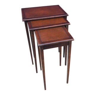 Antique Irwin Leather Inlayed Nesting Tables - Set of 3 For Sale