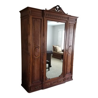 Vintage Mirrored French Armoire For Sale
