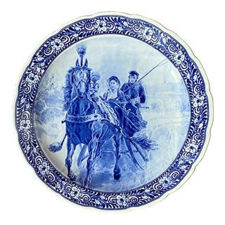 Vintage Royal Sphinx Blue and White Horse Drawn Carriage Charger Plate / Shallow Serving Bowl For Sale