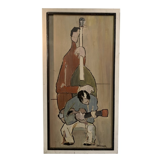 Mid Century Modern Painting, Guitar and Cello Ostermeyer For Sale