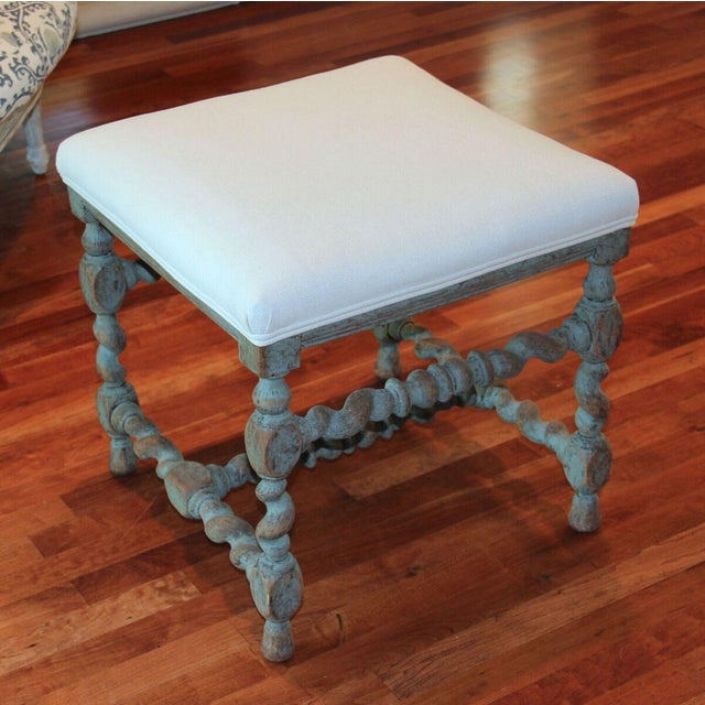 Blue Swedish Baroque Period Square Stool, 18th Century Antique For Sale - Image 8 of 8