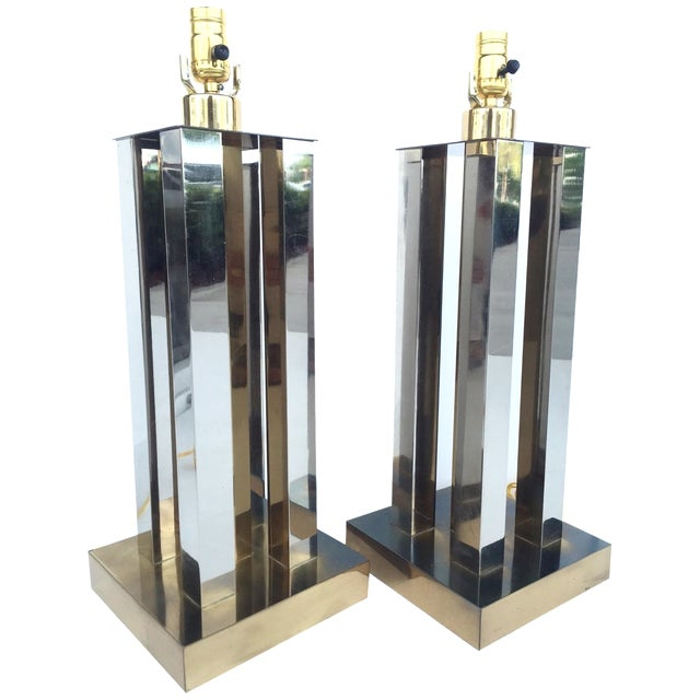 Mid-Century Steel & Brass Column Lamps - A Pair - Image 1 of 9