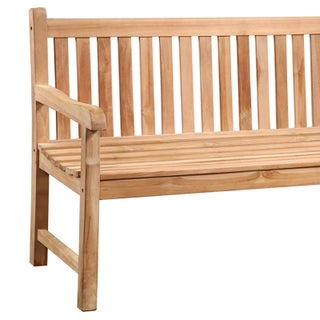 Teak Slatted Outdoor Bench Preview