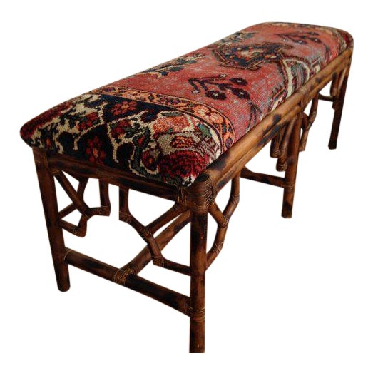 Vintage Boho Style Rattan & Persian Rug Bench For Sale
