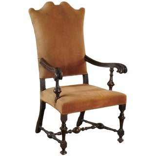 Period Dutch 17th Century Walnut Jacobean Armchair For Sale