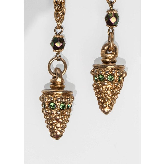 1980s 1980s Claire Dévé Gold Green Crystal Shoulder Duster Earrings For Sale - Image 5 of 7