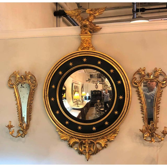 Early 20th Century Late 19th Century Regency Carved and Ebonized Giltwood Bullseye Convex Mirror For Sale - Image 5 of 11