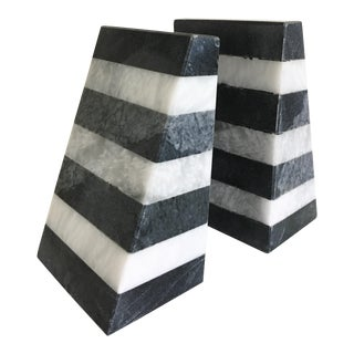 Marble Color Blocked Bookends - A Pair