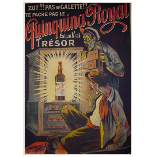 1915 French Belle Epoque Alcohol Poster, Quinquina Royale For Sale