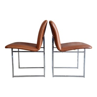 Vintage Mid-Century Milo Baughman Chrome & Upholstered Side Chairs - A Pair For Sale