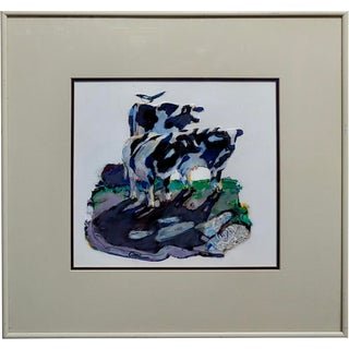 """""""Black & White Cows and Magpie Bird"""" Painting by Marianne Cone For Sale"""