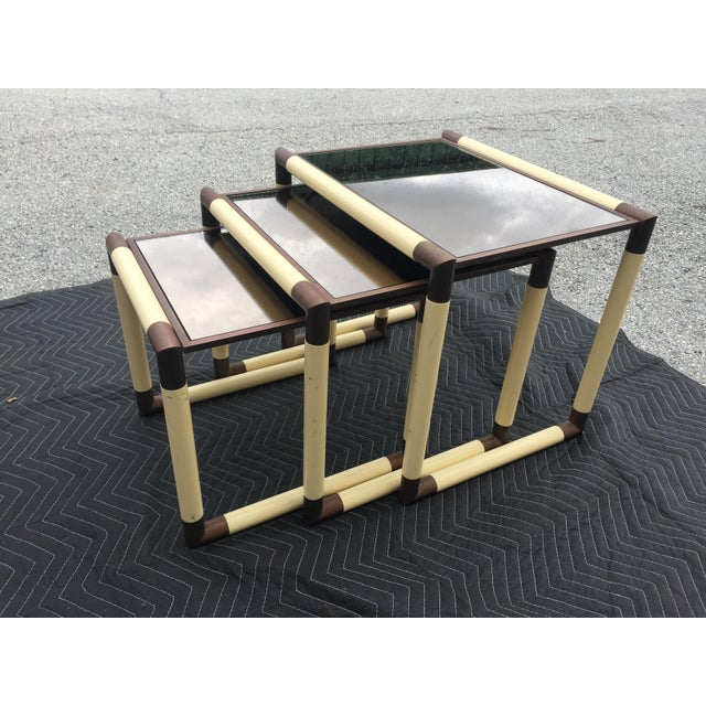 1950s 1950s Mid-Century Modern Geometric Cube Form Nesting Tables - Set of 3 For Sale - Image 5 of 5