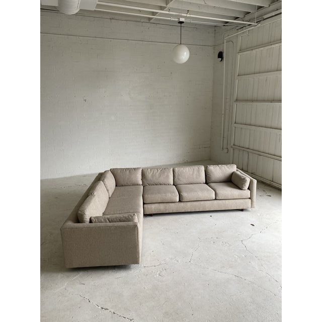 Mid Century Newly Upholstered 2-Piece Tan Sectional For Sale - Image 10 of 11