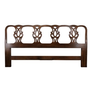 Henredon 18th Century Portfolio Chippendale Walnut King Headboard For Sale