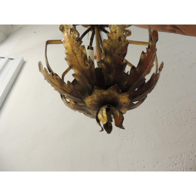 Vintage Iron and Gold Leaf Forged Hanging Lantern For Sale - Image 4 of 9