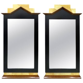 Biedermeier Burl Wood, Ebonized and Goatskin Mirrors For Sale