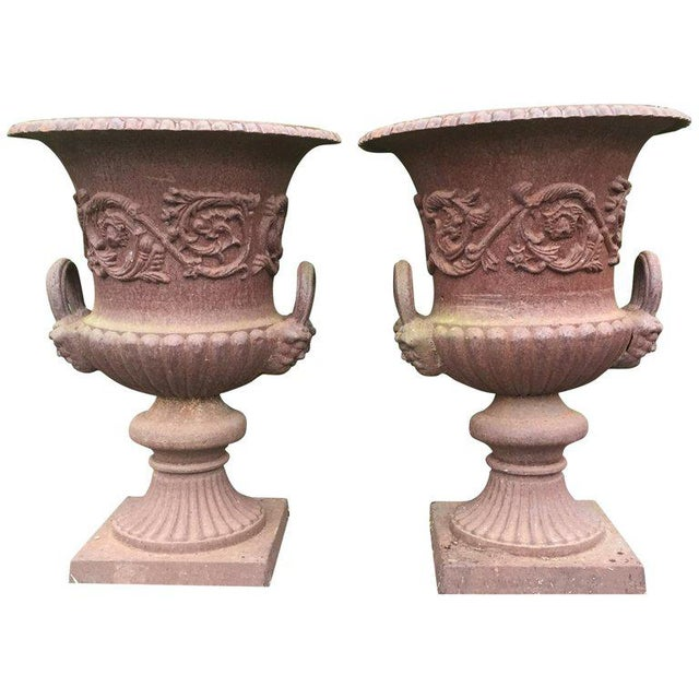 Brown 19th Century Neoclassical Ornate English Garden Jardinaires - a Pair For Sale - Image 8 of 8