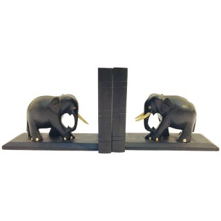 Ebony Hand Carved Wooden Elephant Bookends For Sale