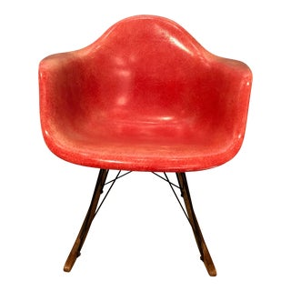 1960s Eames Orange Fiberglass Rocker For Sale