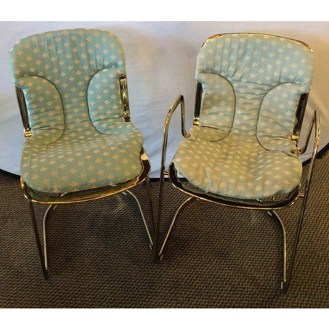 Italian Willy Rizzo for Cidue 8 Dining Chairs Italian 1970s Brass Plated Metal Labelled For Sale - Image 3 of 13