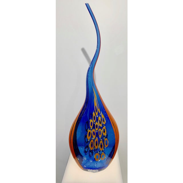 Davide Dona Dona Modern Art Glass Blue and Orange Sculpture Vase With Red and Yellow Murrine For Sale - Image 4 of 12
