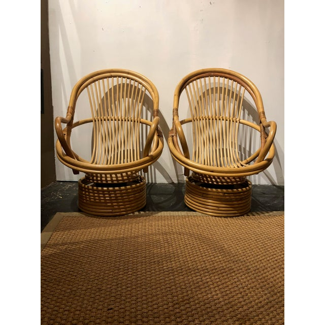 1980s Vintage Bamboo Swivel Chairs- a Pair For Sale - Image 13 of 13