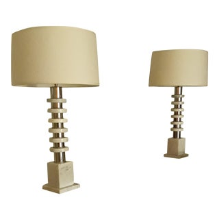 Vintage Mid-Century Marble and Metal Table Lamps With Shades - a Pair For Sale