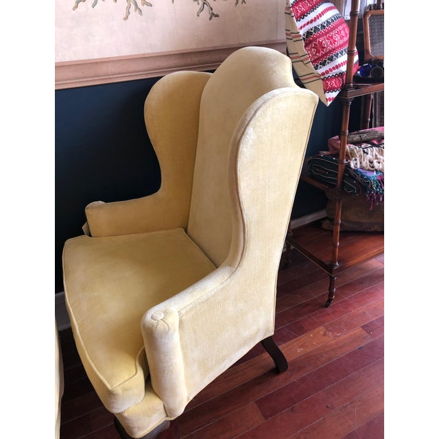 Wood Vintage Drexel Yellow Wingback Chairs- Pair For Sale - Image 7 of 13