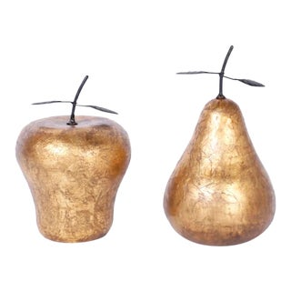 Mid Century Gilt Porcelain Apple and Pear - 2 Pieces For Sale