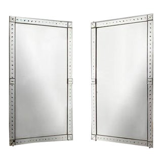 Lovely Original Pair Large Venetian Mirrors With Mirrored Borders For Sale