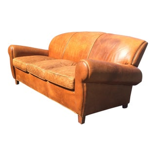 Vintage Old Hickory Tannery Tan Leather Sofa For Sale